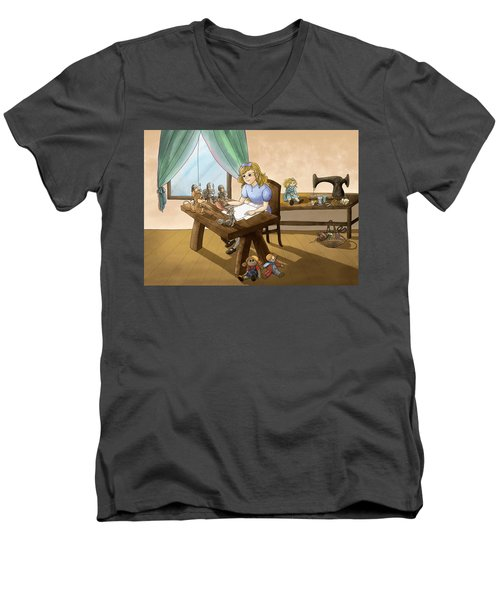 Men's V-Neck T-Shirt featuring the painting Tammy The Little Doll Girl  by Reynold Jay