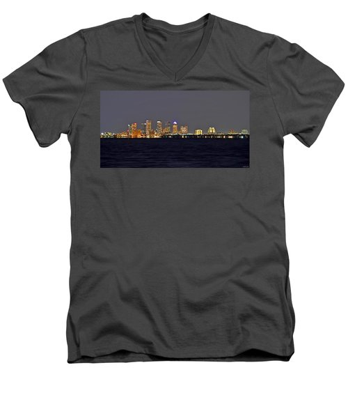 Men's V-Neck T-Shirt featuring the photograph Tampa City Skyline At Night 7 November 2012 by Jeff at JSJ Photography