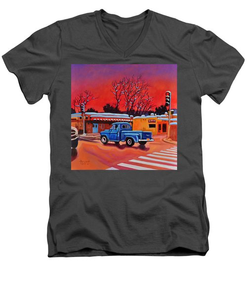 Men's V-Neck T-Shirt featuring the painting Taos Blue Truck At Dusk by Art West