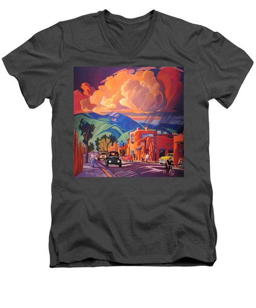 Men's V-Neck T-Shirt featuring the painting Taos Inn Monsoon by Art James West