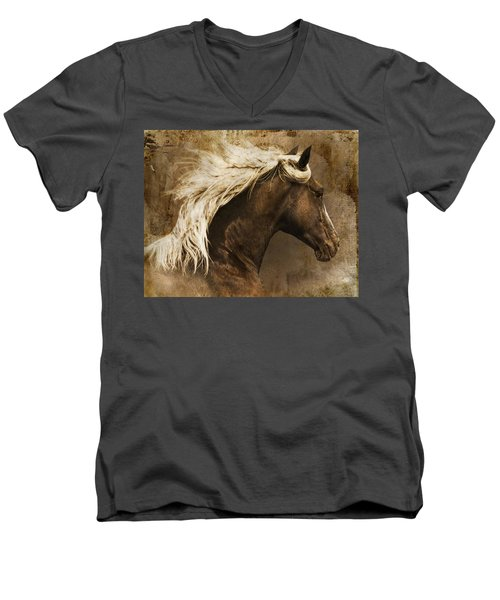 Men's V-Neck T-Shirt featuring the photograph Taos by Priscilla Burgers
