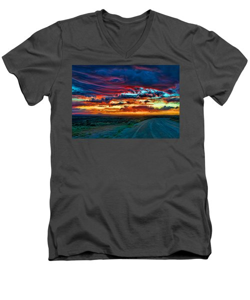 Taos Sunset Iv Men's V-Neck T-Shirt
