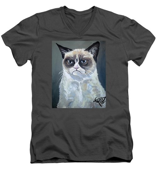 Tard - Grumpy Cat Men's V-Neck T-Shirt by Tom Carlton
