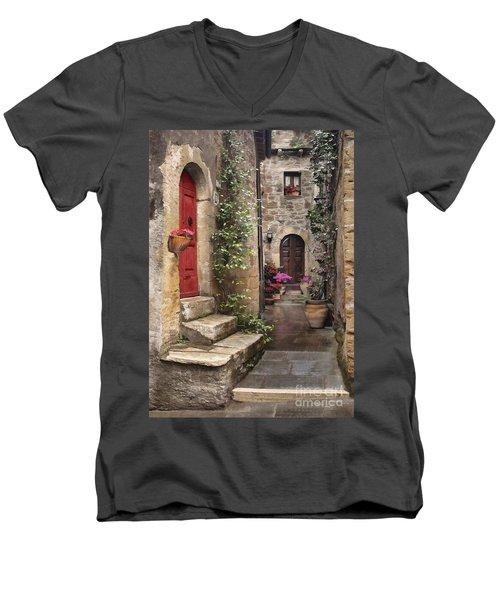 Tarquinian Red Door Men's V-Neck T-Shirt