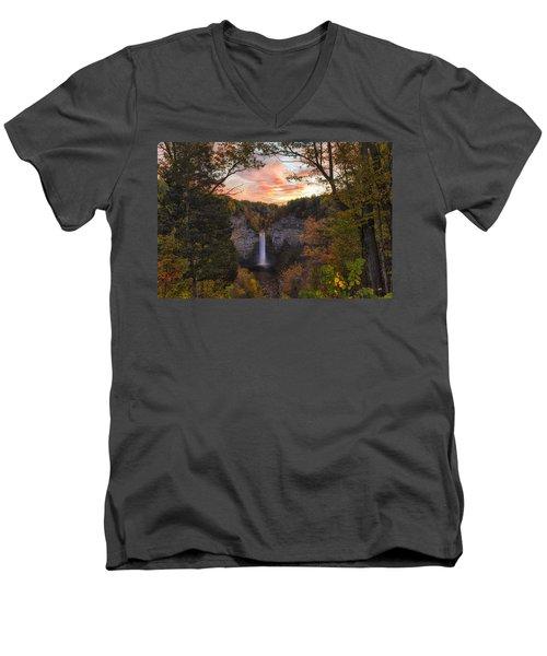 Taughannock Falls Autumn Sunset Men's V-Neck T-Shirt