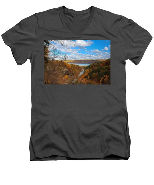 Men's V-Neck T-Shirt featuring the painting Taughannock River Canyon In Colorful Fall Ithaca New York Iv by Paul Ge