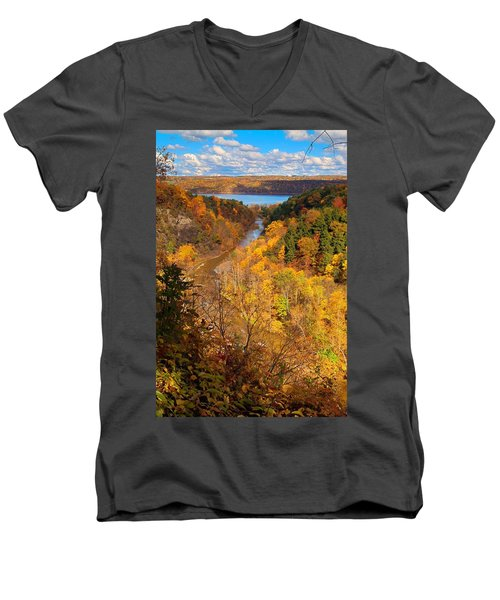 Men's V-Neck T-Shirt featuring the photograph Taughannock River Canyon In Colorful Fall Ithaca New York by Paul Ge