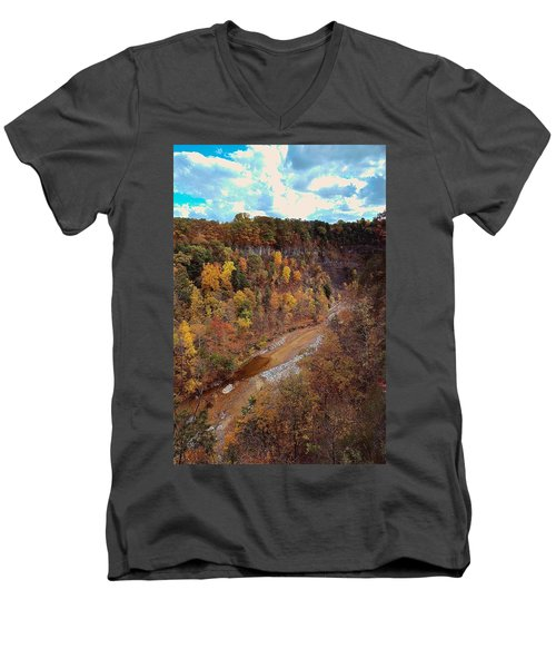 Men's V-Neck T-Shirt featuring the painting Taughannock River Canyon In Colorful Fall Ithaca New York V by Paul Ge