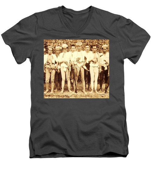 Men's V-Neck T-Shirt featuring the photograph Tausug Tribe Members - Moros by Roberto Prusso