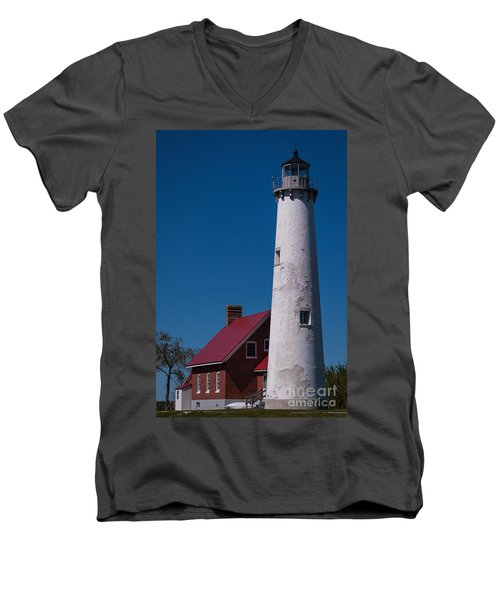 Men's V-Neck T-Shirt featuring the photograph Tawas Point Lighthouse by Patrick Shupert