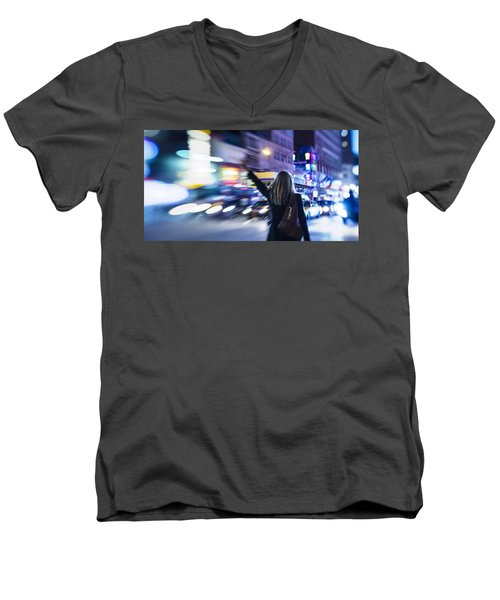 Taxi's Hunting In Manhattan Men's V-Neck T-Shirt