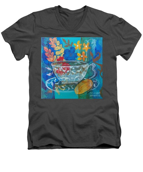 Men's V-Neck T-Shirt featuring the painting Tea With Biscuit by Robin Maria Pedrero