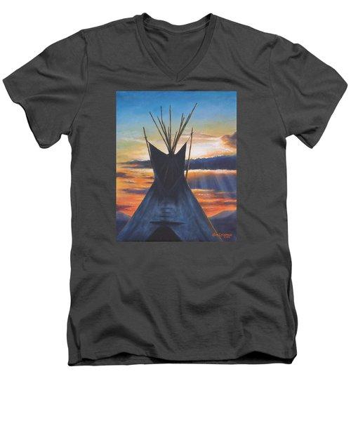 Teepee At Sunset Part 1 Men's V-Neck T-Shirt