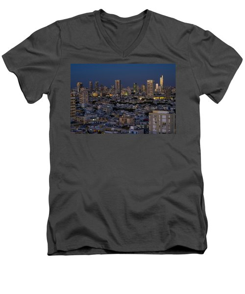 Tel Aviv At The Twilight Magic Hour Men's V-Neck T-Shirt
