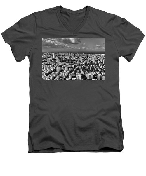 Men's V-Neck T-Shirt featuring the photograph Tel Aviv Center Black And White by Ron Shoshani