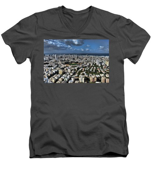 Men's V-Neck T-Shirt featuring the photograph Tel Aviv Center by Ron Shoshani