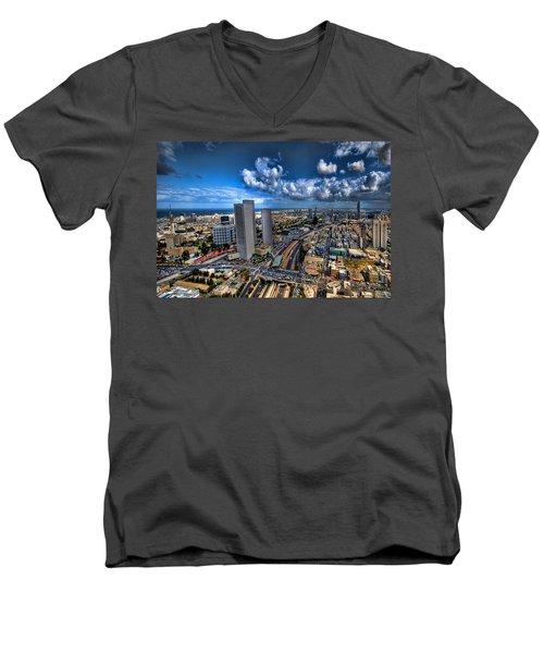 Tel Aviv Center Skyline Men's V-Neck T-Shirt by Ron Shoshani