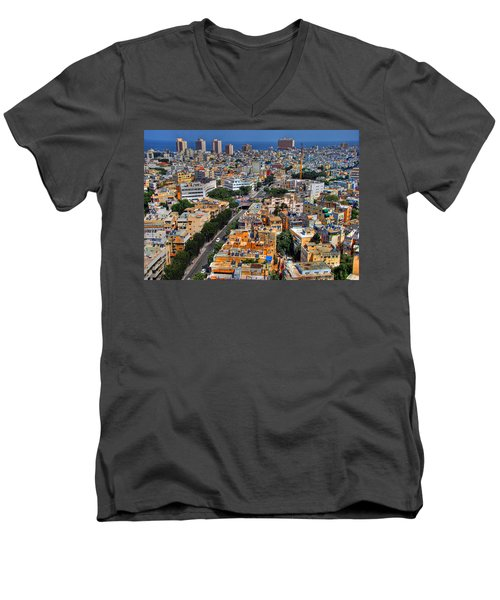 Men's V-Neck T-Shirt featuring the photograph Tel Aviv Eagle Eye View by Ron Shoshani