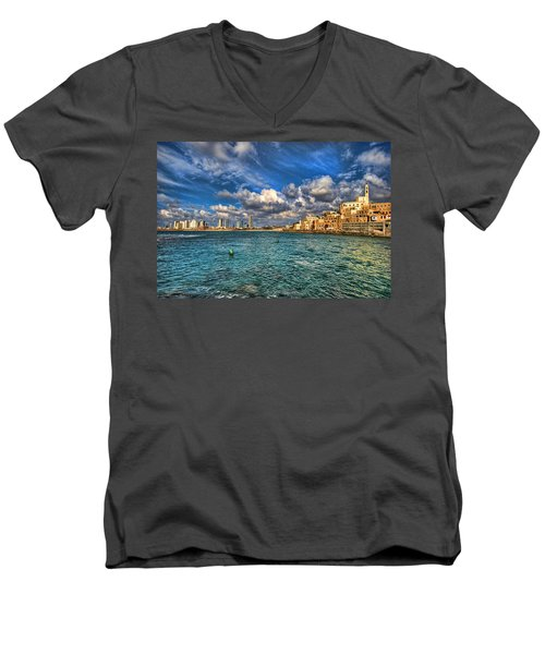Tel Aviv Jaffa Shoreline Men's V-Neck T-Shirt by Ron Shoshani