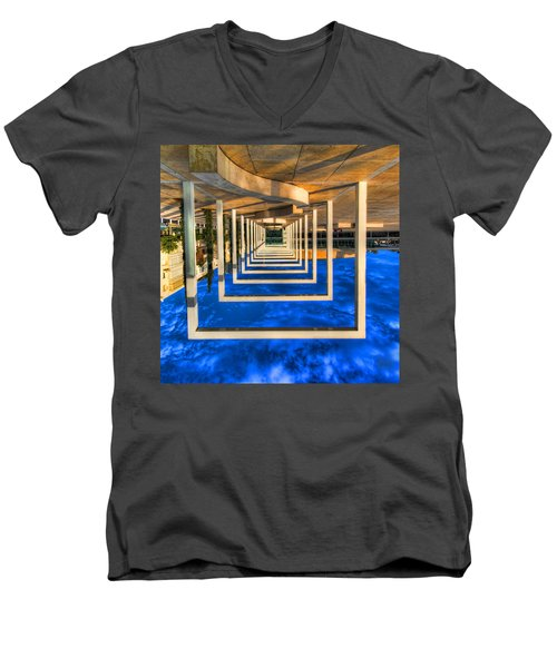 Men's V-Neck T-Shirt featuring the photograph Tel Aviv Jump by Ron Shoshani