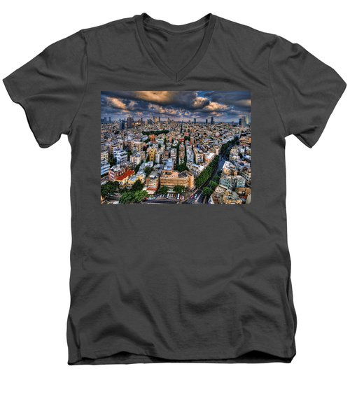 Tel Aviv Lookout Men's V-Neck T-Shirt by Ron Shoshani