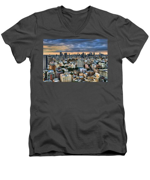 Men's V-Neck T-Shirt featuring the photograph Tel Aviv Skyline Winter Time by Ron Shoshani