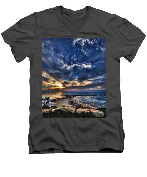 Tel Aviv Sunset At Hilton Beach Men's V-Neck T-Shirt