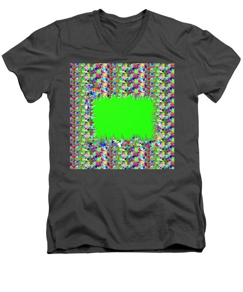 Men's V-Neck T-Shirt featuring the photograph Template Art Star Sparkle And Empty Box To Add Your Image Or Text by Navin Joshi