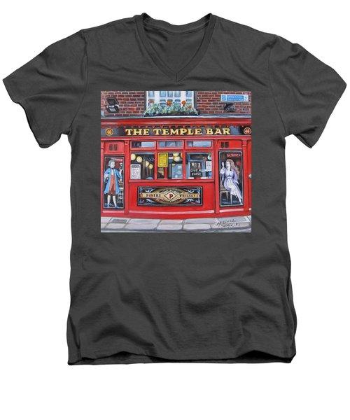 Temple Bar Dublin Ireland Men's V-Neck T-Shirt by Melinda Saminski