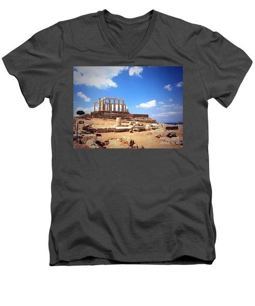 Temple Of Poseidon Vignette Men's V-Neck T-Shirt