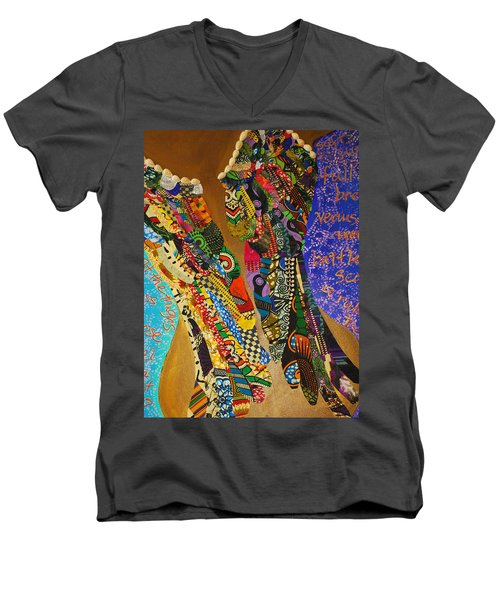 Men's V-Neck T-Shirt featuring the tapestry - textile Temple Of The Goddess Eye Vol 1 by Apanaki Temitayo M