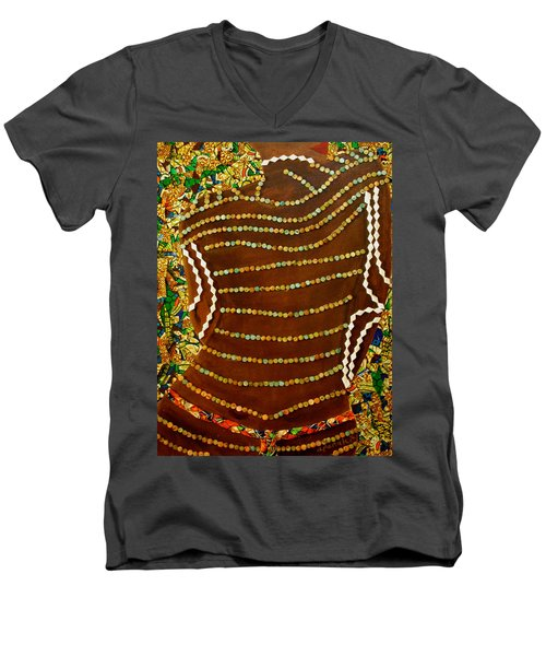 Men's V-Neck T-Shirt featuring the tapestry - textile Temple Of The Goddess Eye Vol 2 by Apanaki Temitayo M