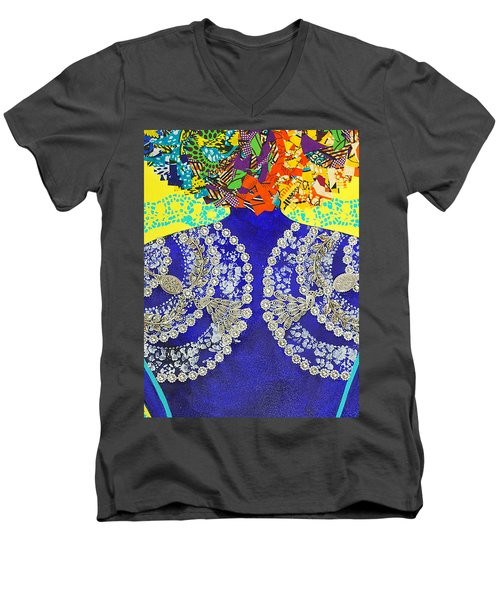 Men's V-Neck T-Shirt featuring the tapestry - textile Temple Of The Goddess Eye Vol 3 by Apanaki Temitayo M