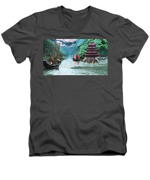 Temple On The Yangzte Men's V-Neck T-Shirt