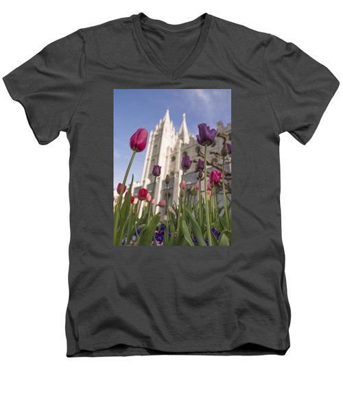 Temple Tulips Men's V-Neck T-Shirt