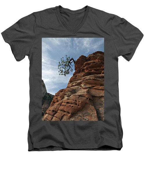Men's V-Neck T-Shirt featuring the photograph Tenacity by Joe Schofield