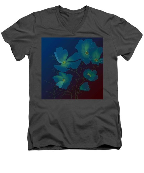 Tender Cosmos Men's V-Neck T-Shirt by Latha Gokuldas Panicker