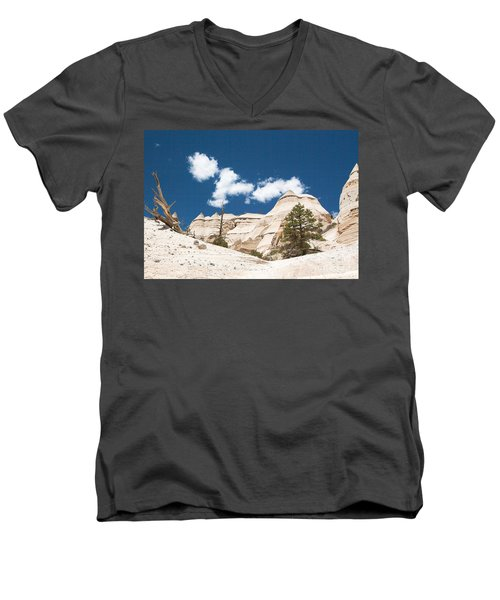 Men's V-Neck T-Shirt featuring the photograph High Noon At Tent Rocks by Roselynne Broussard
