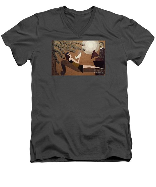Men's V-Neck T-Shirt featuring the painting Tesla And White Dove by Jasna Gopic