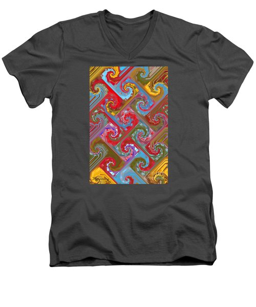 Men's V-Neck T-Shirt featuring the digital art Tessellation by Mariarosa Rockefeller