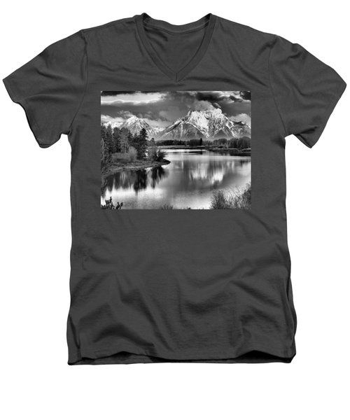 Tetons In Black And White Men's V-Neck T-Shirt