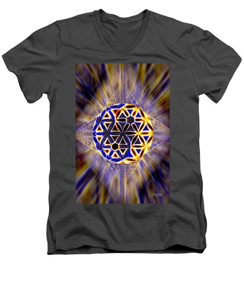 Men's V-Neck T-Shirt featuring the drawing Tetra Balance Crystal by Derek Gedney