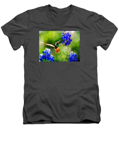 Da161 Texas Bluebonnet Hummingbird By Daniel Adams Men's V-Neck T-Shirt