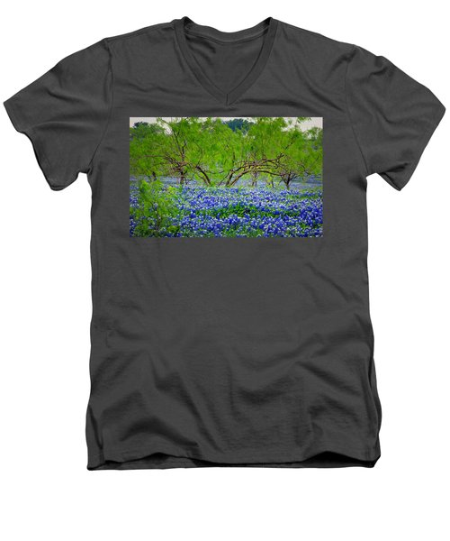 Men's V-Neck T-Shirt featuring the photograph Texas Bluebonnets - Texas Bluebonnet Wildflowers Landscape Flowers by Jon Holiday