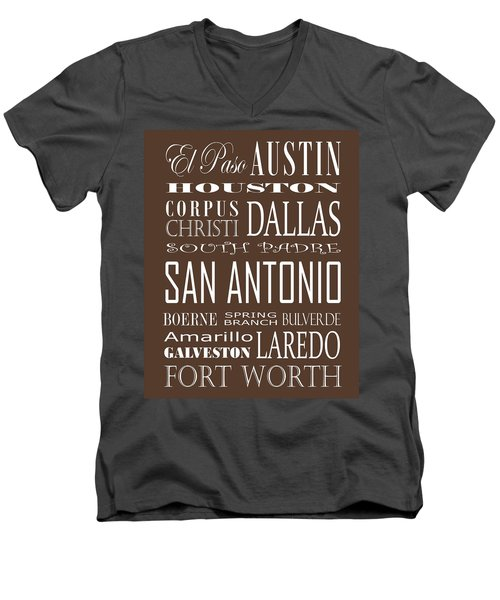 Texas Cities On Brown Men's V-Neck T-Shirt by Debbie Karnes