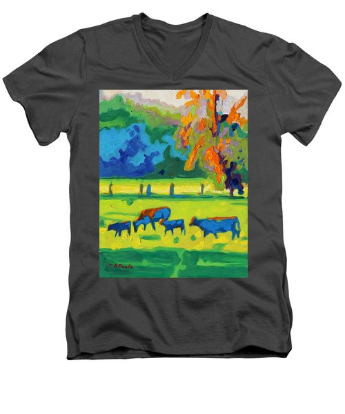 Men's V-Neck T-Shirt featuring the painting Texas Cows At Sunset Oil Painting Bertram Poole Apr14 by Thomas Bertram POOLE