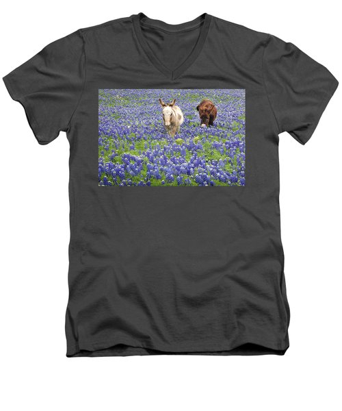 Men's V-Neck T-Shirt featuring the photograph Texas Donkeys And Bluebonnets - Texas Wildflowers Landscape by Jon Holiday