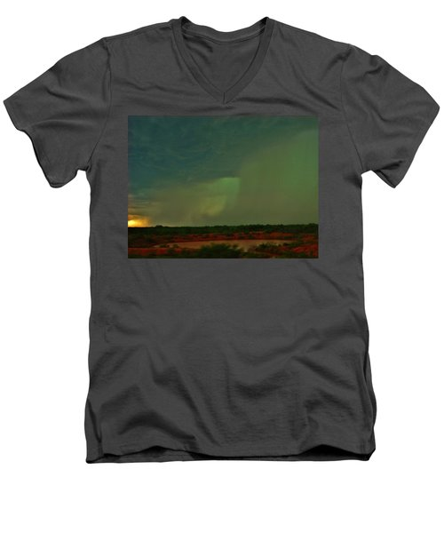 Men's V-Neck T-Shirt featuring the photograph Texas Microburst by Ed Sweeney