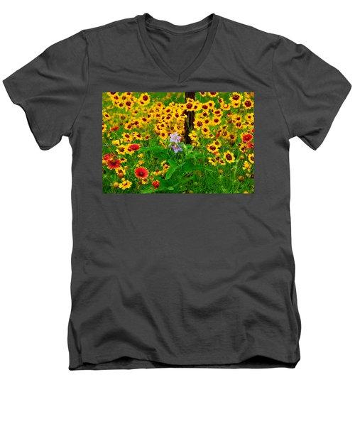 Texas Spring Delight Men's V-Neck T-Shirt by Lynn Bauer