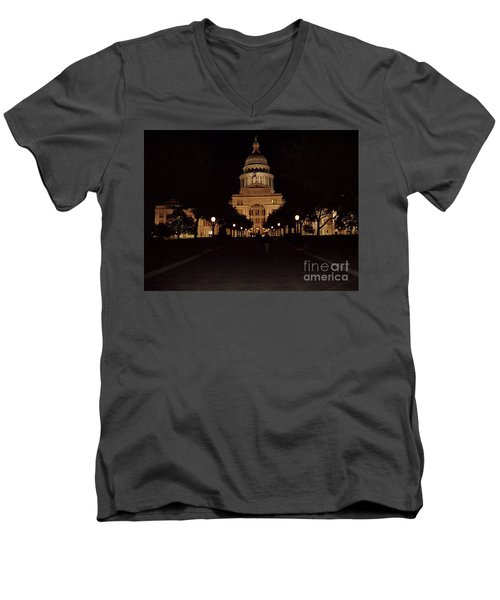 Men's V-Neck T-Shirt featuring the photograph Texas State Capital by John Telfer